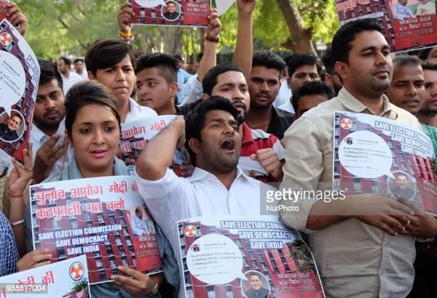 Indian Youth Congress members protest against Election Commission for allegedly leaking confidential details pertaining to the election dates of...