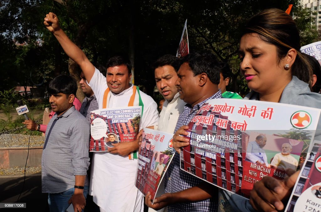 Indian Youth Congress protests against Election Commission : News Photo