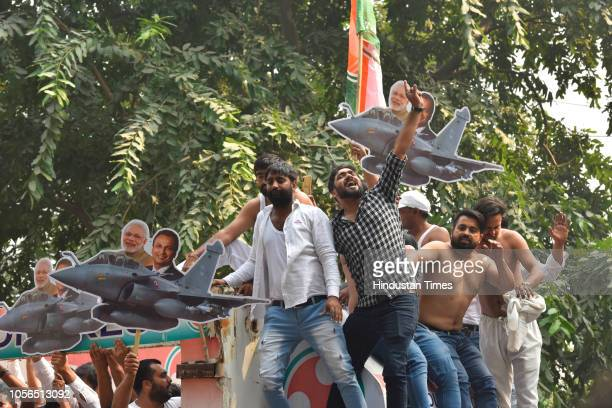 Indian Youth Congress members stage a protest against the government over the Rafale fighter jet deal and CBI issue near PM House on November 2 2018...