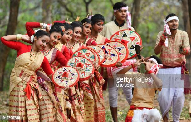 Indian youth perform Bihu Dance ahead of the Rongali Bihu festival in Guwahati on April 13 2018 Rongali Bihu is celebrated in the first month of the...