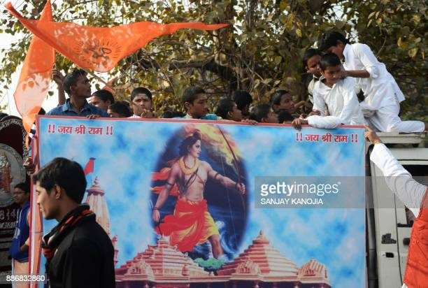 Indian youths from the Veda Vidyalaya religious school take part in a procession organised by the Vishwa Hindu Parishad Hindu nationalist group to...