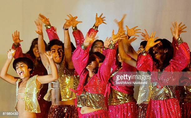 Indian youths perform July 18 2008 at the Indian High School in Dubai during a show in collaboration with famous Indian dancer and choreographer...