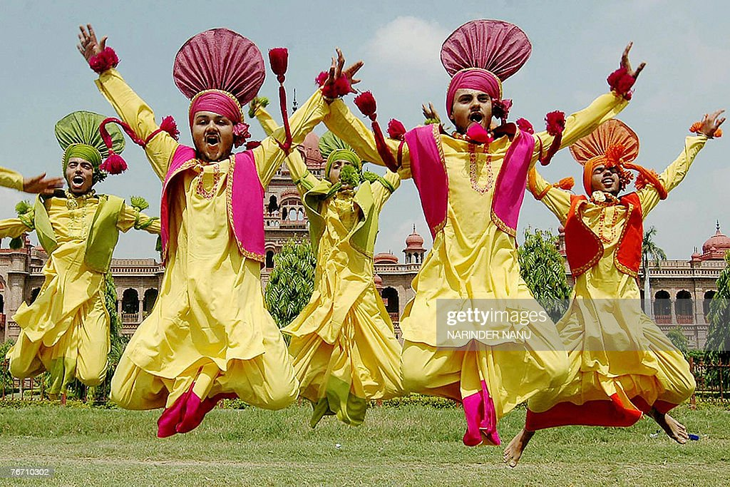 Indian youths perform the traditional Punjab Folk dance Bhangra at the opening ceremony of the 13th Indian Punjab Police Border Range Sports and...