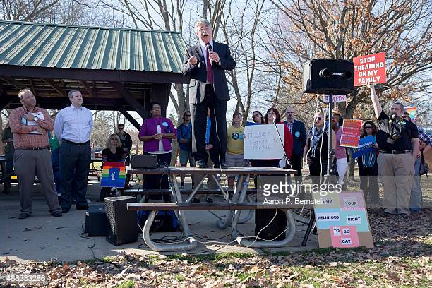 Indiana Attorney General Greg Zoeller speaks to a gathering at Karst Farm Park on March 31 2015 in Bloomington Indiana Responding to widespread...