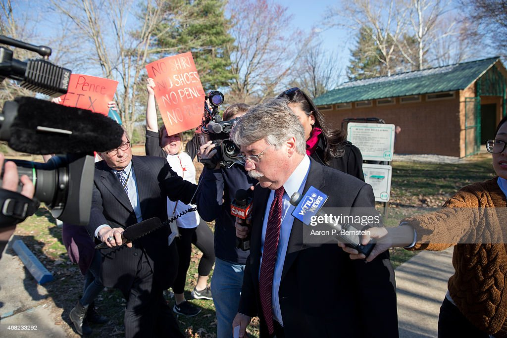 Indiana Attorney General Greg Zoeller speaks to the media as he leaves a demonstration at Karst Farm Park on March 31, 2015 in Bloomington, Indiana. Responding to widespread criticism nationally over the state's new controversial Religious Freedom Restoration Act, which critics say can be used to discriminate against gays and lesbians, Indiana Gov. Mike Pence today called on the Republican-controlled general assembly to 'fix' the law, making clear that businesses cannont use the law to deny services to same-sex couples, according published reports.