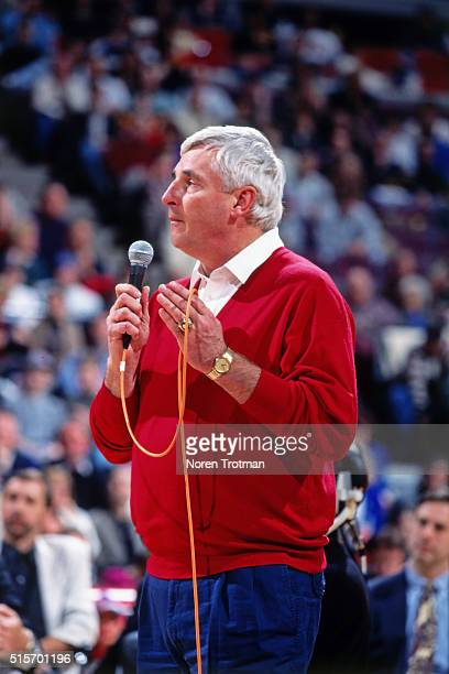 Indiana Basketball coach Bob Knights speaks at former Detroit Pistons player Isiah Thomas jersey retirement ceremony on March 18 1996 at the Palace...