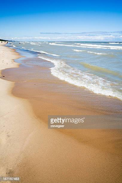 indiana beach on lake michigan - indiana dunes national lakeshore stock photos and pictures
