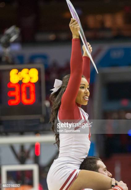 Indiana cheerleader during a Big 10 tournament quarterfinal game between the Wisconsin Badgers and the Indiana Hoosiers on March 10 at Verizon Center...