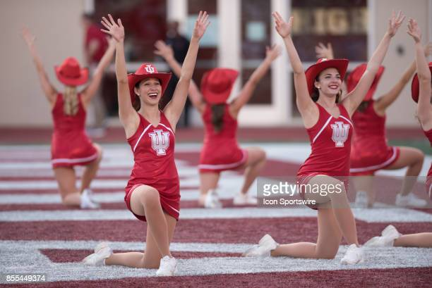 Indiana cheerleaders dance in the end zone during a stoppage in play of a college football game between the Georgia Southern Eagles and the Indiana...