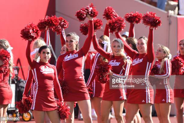 Indiana cheerleaders during a college football game between the Michigan Wolverines and the Indiana Hoosiers on October 14 2017 at Memorial Stadium...