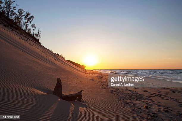 indiana dunes sunset - indiana dunes national lakeshore stock photos and pictures