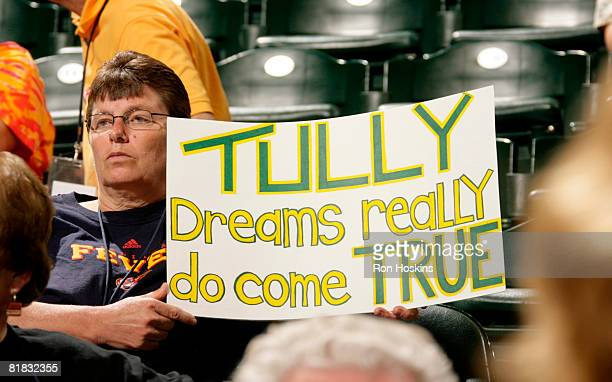 Indiana Fever fan shows her support for Tully Bevilaqua of the Indian Fever after Bevilaqua was named to the Australian National Team as the Fever...