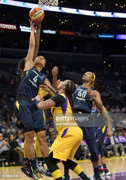 Indiana Fever forward Candice Dupree fights for a rebound during the game between the Indiana Fever and the Los Angeles Sparks on June 19 at STAPLES...