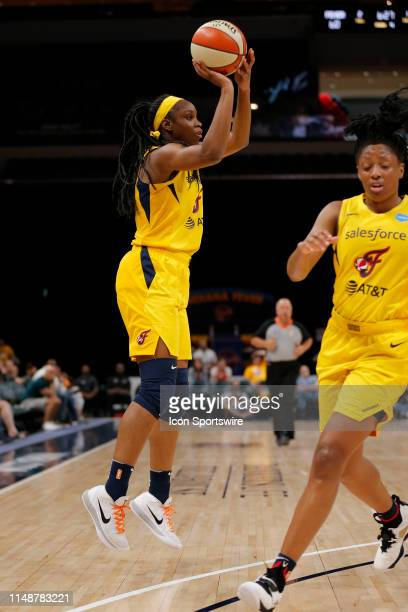 Indiana Fever guard Kennedy Burke knocks down the three pointer during the game between the Phoenix Mercury and Indiana Fever June 09 at Bankers Life...
