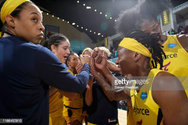 Indiana Fever huddle up during the game against the New York Liberty on September 6, 2019 at the Westchester County Center in White Plains, New York....
