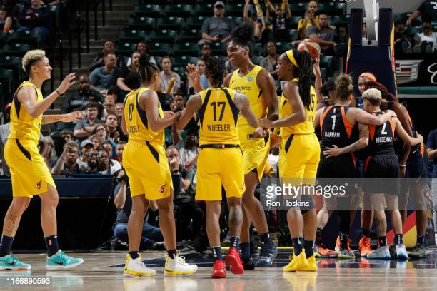 Indiana Fever reacts to play in the huddle during the game against the Connecticut Sun on September 8, 2019 at the Bankers Life Fieldhouse in...