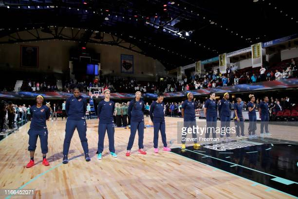 Indiana Fever stand for the national anthem before the game against the New York Liberty on September 6, 2019 at the Westchester County Center in...