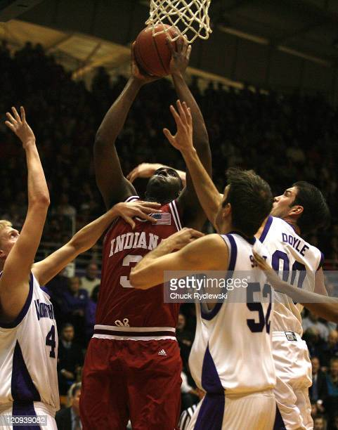 Indiana Forward DJ White grabs an offensive rebound during their game against the Northwestern Wildcats February 28 2007 at WelshRyan Arena in...