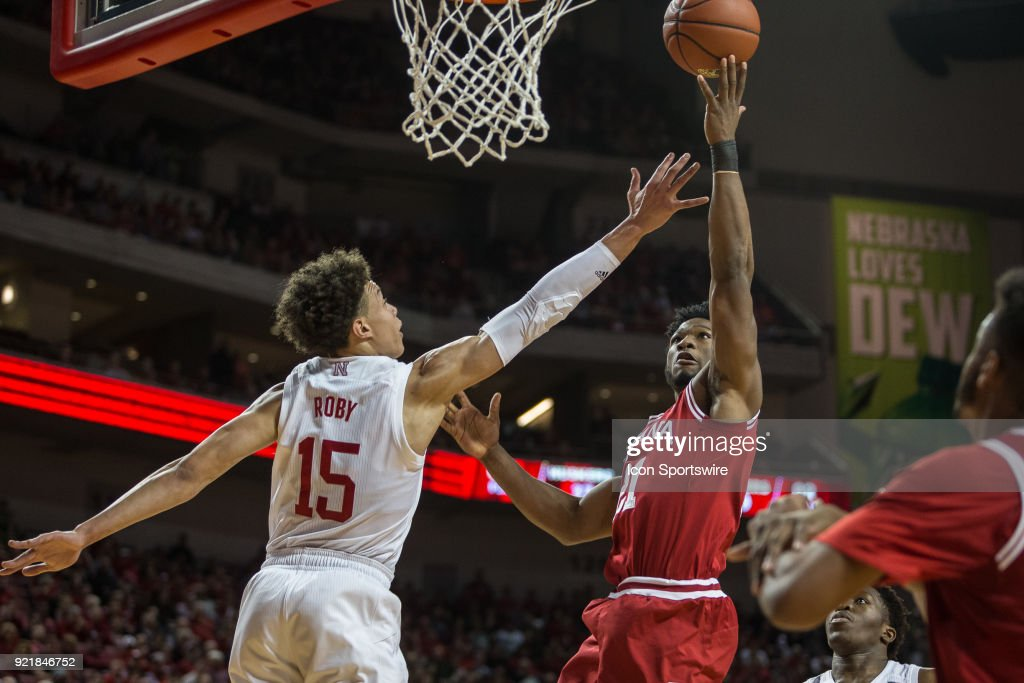 Indiana forward Freddie McSwain Jr. (21) makes a lay up against Nebraska forward Isaiah Roby (15) during the second half of a college basketball game Tuesday, February 20th at the Pinnacle Bank Arena in Lincoln, Nebraska. Nebraska takes the win over Indiana 66 to 57.