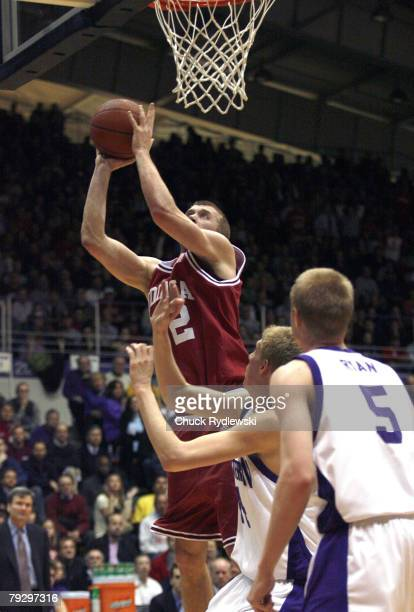 Indiana Forward Lance Stemler goes up for a basket during a game against the Northwestern Wildcats at WelshRyan Arena in Evanston Illinois on...