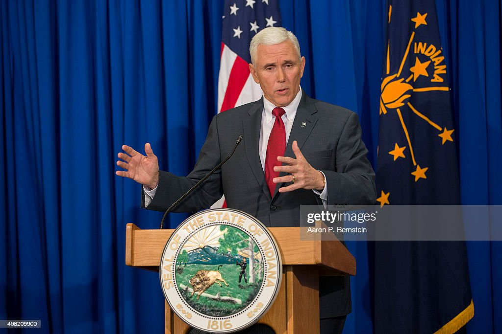 Indiana Gov. Mike Pence Holds Press Conference : News Photo