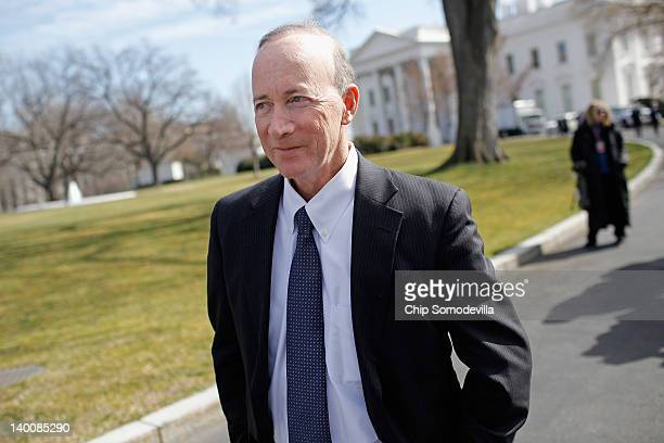 Indiana Gov. Mitch Daniels leaves the White House after a meeting of the National Governors Association with President Barack Obama February 27, 2012...