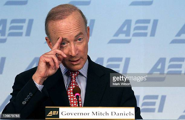 """Indiana Gov. Mitch Daniels speaks about his new book """"Keeping the Republic"""" during a discussion at the American Enterprise Institute on September 26,..."""