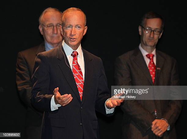 Indiana Gov. Mitch Daniels speaks to the crowd at the IZOD IndyCar series chassis strategy annoucement at the Indianapolis Museum of Art on July 14,...