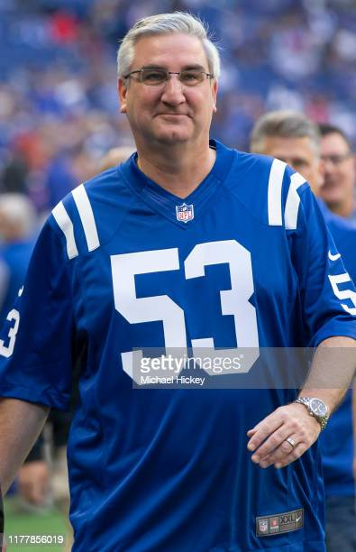 Indiana governor Eric Holcomb is seen before the Indianapolis Colts and Houston Texans game at Lucas Oil Stadium on October 20, 2019 in Indianapolis,...