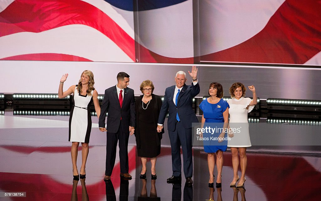 Indiana Governor Mike Pence and his family great supporters on the third day of the Republican National Convention on July 20, 2016 at the Quicken Loans Arena in Cleveland, Ohio. An estimated 50,000 people are expected in Cleveland, including hundreds of prostesters and members of the media.