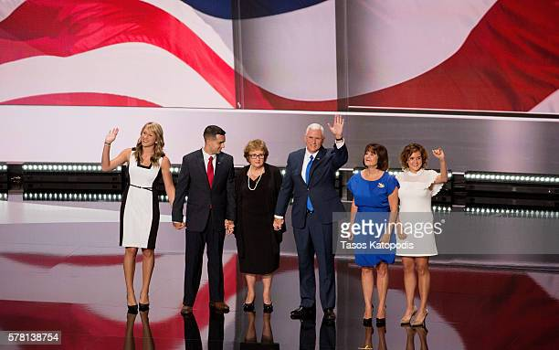 Indiana Governor Mike Pence and his family great supporters on the third day of the Republican National Convention on July 20 2016 at the Quicken...