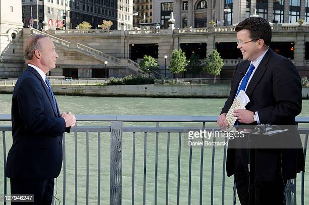 """Indiana Governor Mitch Daniels and Neil Cavuto during FOX's """"Your World with Cavuto"""" live from the River Walk at Trump International Hotel & Tower on..."""