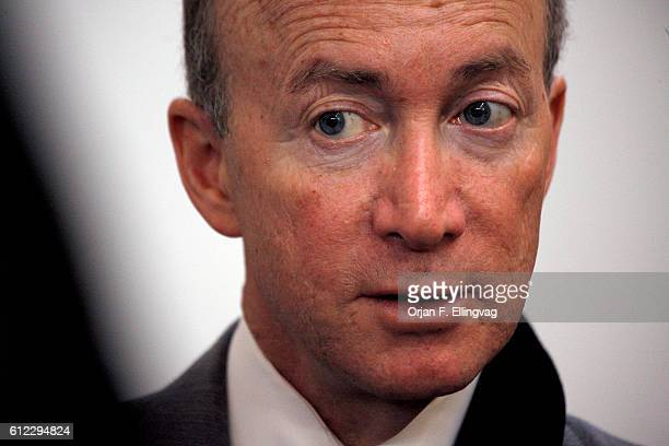 Indiana Governor Mitch Daniels chairs a meeting of the Indiana Economic Development Corporation in Winona Lake, Indiana. | Location: Winona Lake,...