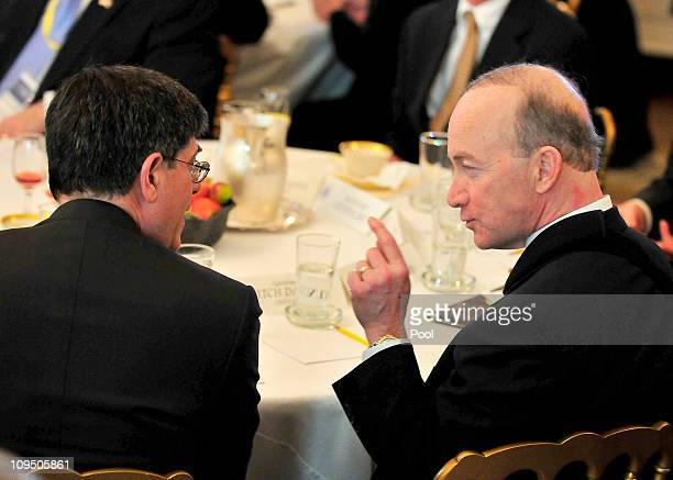 Indiana Governor Mitch Daniels shares some thoughts with OMB Director Jacob Lew prior to United States President Barack Obama and Vice President Joe...