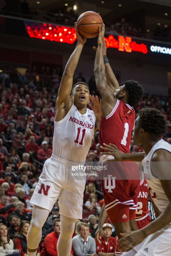 Indiana guard Aljami Durham (1) blocks a shot by Nebraska guard Evan Taylor (11) during the first half of a college basketball game Tuesday, February 20th at the Pinnacle Bank Arena in Lincoln, Nebraska. Nebraska takes the win over Indiana 66 to 57.