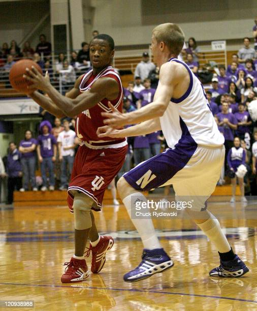 Indiana Guard Armon Bassett looks for an open man during their game against the Northwestern Wildcats February 28 2007 at WelshRyan Arena in Evanston...