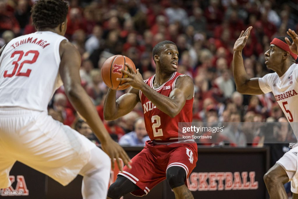 Indiana guard Josh Newkirk (2) looking to pass with Nebraska guard Glynn Watson Jr. (5) guarding during the second half of a college basketball game Tuesday, February 20th at the Pinnacle Bank Arena in Lincoln, Nebraska. Nebraska takes the win over Indiana 66 to 57.