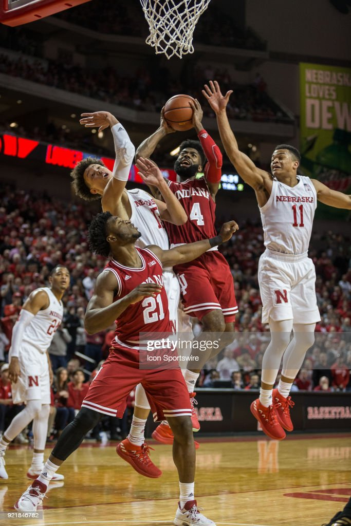 Indiana guard Robert Johnson (4) is fouled by Nebraska forward Isaiah Roby (15) during the second half of a college basketball game Tuesday, February 20th at the Pinnacle Bank Arena in Lincoln, Nebraska. Nebraska takes the win over Indiana 66 to 57.
