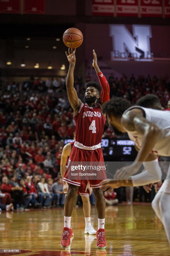 Indiana guard Robert Johnson (4) makes a free throw against Nebraska during the second half of a college basketball game Tuesday, February 20th at the Pinnacle Bank Arena in Lincoln, Nebraska. Nebraska takes the win over Indiana 66 to 57.
