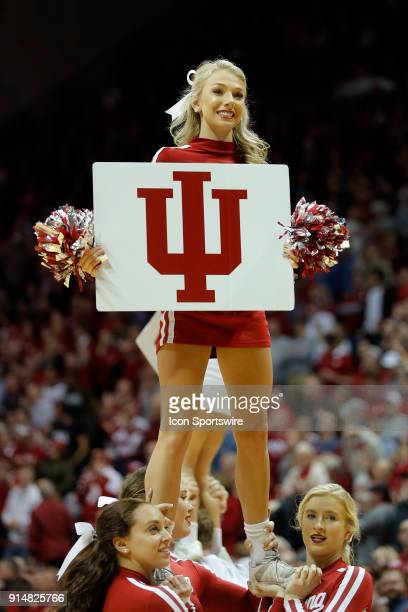 Indiana Hoosier cheerleader performs during the game between the Michigan State Spartans and Indiana Hoosiers on February 3 at Assembly Hall in...