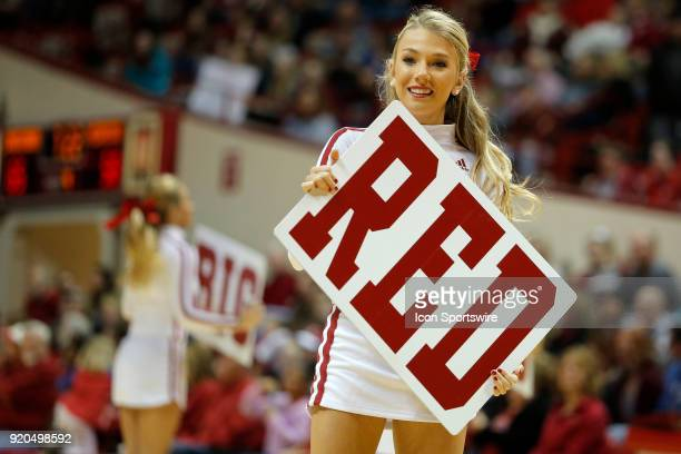 Indiana Hoosier Cheerleader performs during the game between the Nebraska Cornhuskers and Indiana Hoosiers on February 17 at Assembly Hall in...
