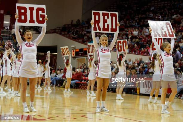 Indiana Hoosier Cheerleaders perform during the game between the Nebraska Cornhuskers and Indiana Hoosiers on February 17 at Assembly Hall in...