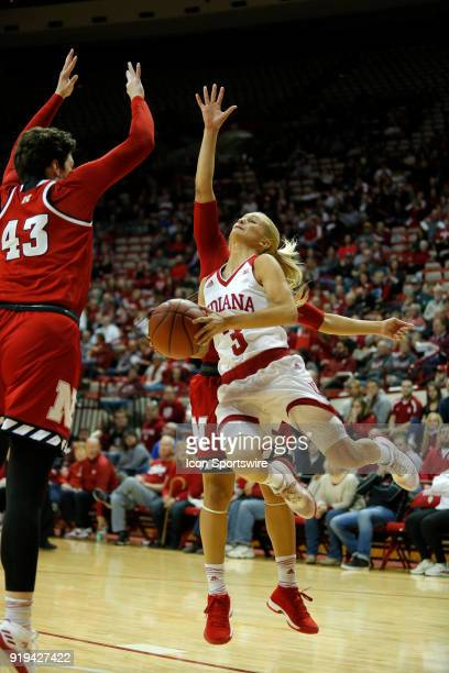 Indiana Hoosier guard Tyra Buss powers along the baseline goes in for two during the game between the Nebraska Cornhuskers and Indiana Hoosiers on...