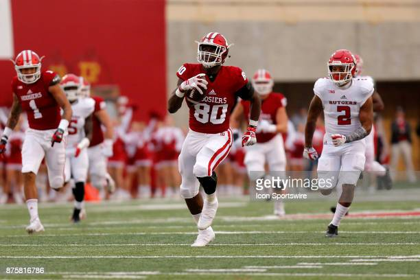 Indiana Hoosier tight end Ian Thomas with the 57 yard touchdown catch during the game between the Rutgers Scarlet Knights and Indiana Hoosiers on...