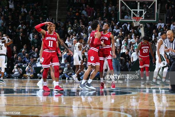 Indiana Hoosiers celebrates 79 75 win against Michigan State Spartans at Breslin Center on February 2 2019 in East Lansing Michigan