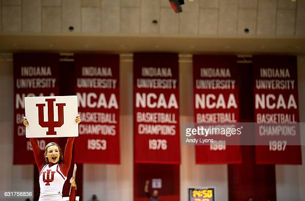 Indiana Hoosiers cheerleader performs during the game against the Rutgers Scarlet Knights at Assembly Hall on January 15 2017 in Bloomington Indiana