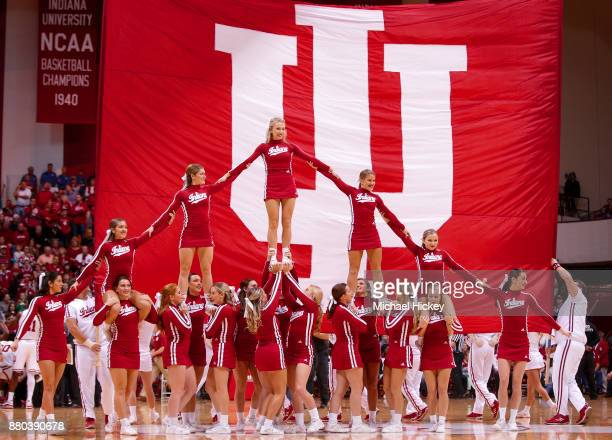 Indiana Hoosiers cheerleaders are seen during the game is seen during the game against the Eastern Michigan Eagles at Assembly Hall on November 24...