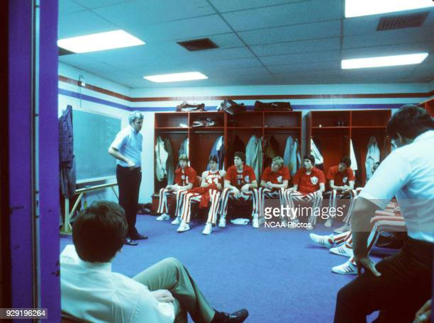 Indiana Hoosiers coach Bob Knight talks with his players before the NCAA Photos via Getty Images National Basketball Championship game in...