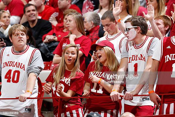 Indiana Hoosiers fans celebrate during the game against the Sam Houston State Bearkats at Assembly Hall on November 15 2012 in Bloomington Indiana...
