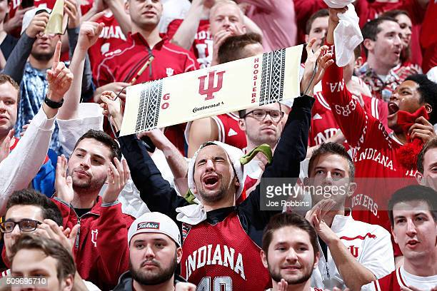 Indiana Hoosiers fans celebrate in the second half of the game against the Iowa Hawkeyes at Assembly Hall on February 11 2016 in Bloomington Indiana...